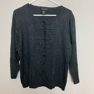 Spense XL Charcoal Grey Beaded Embellished Sweater